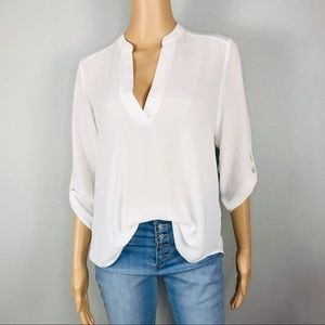 White split neckline blouse